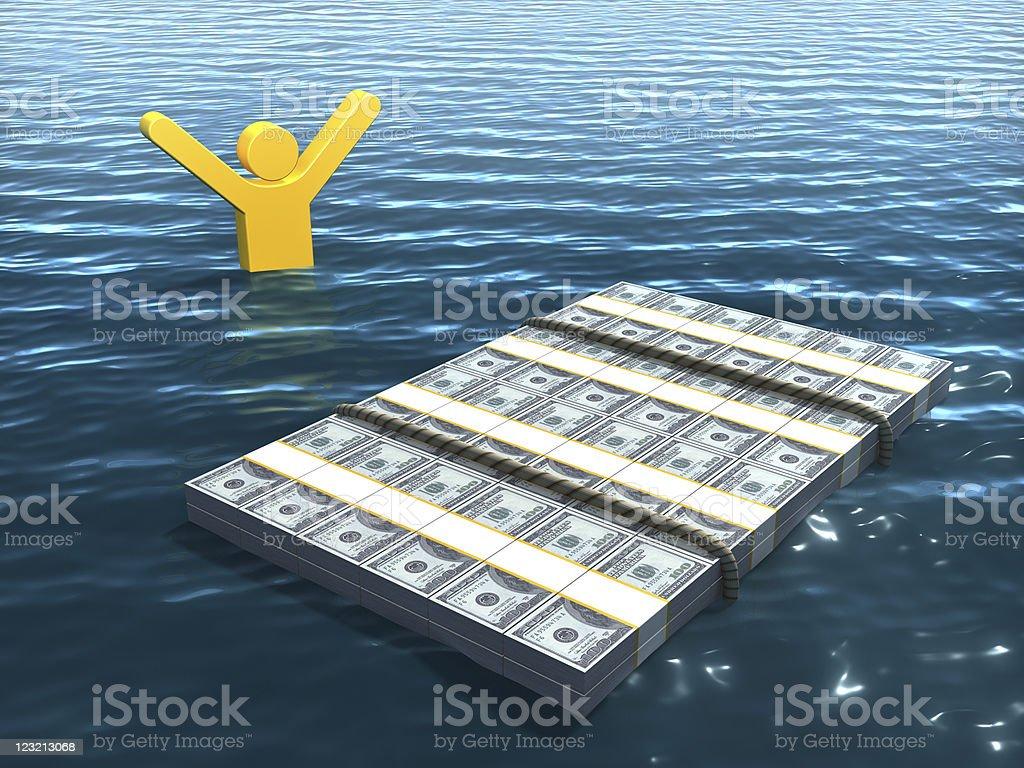 Money raft and survivor royalty-free stock photo