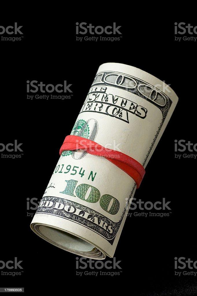 Rotolo di soldi-sfondo nero foto stock royalty-free