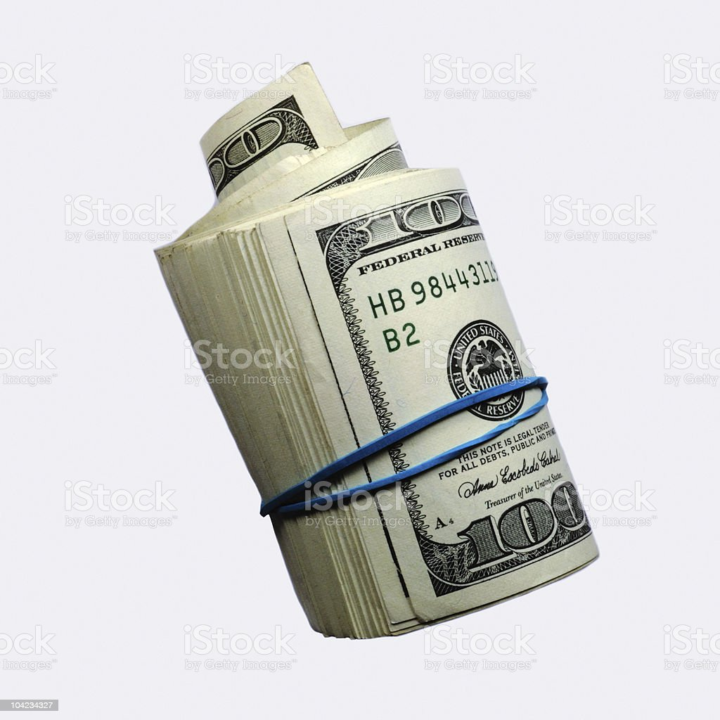 Money roll isolated royalty-free stock photo