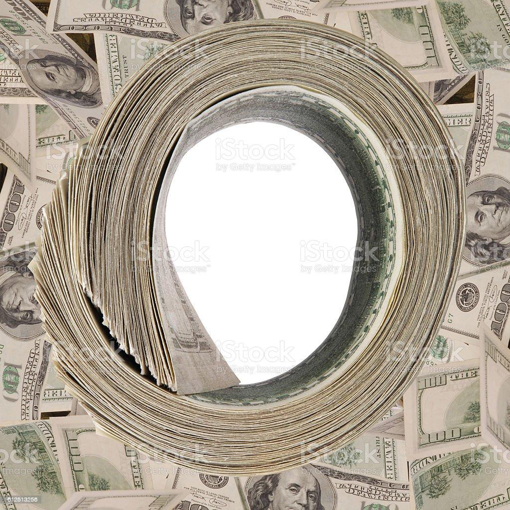 Money roll, roll of bills, roll of dollar bills. stock photo