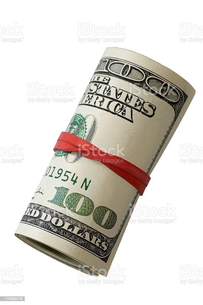Rotolo di soldi-sfondo bianco foto stock royalty-free