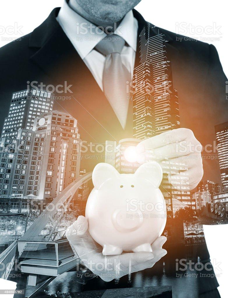 Money saving concept with Piggy Bank stock photo