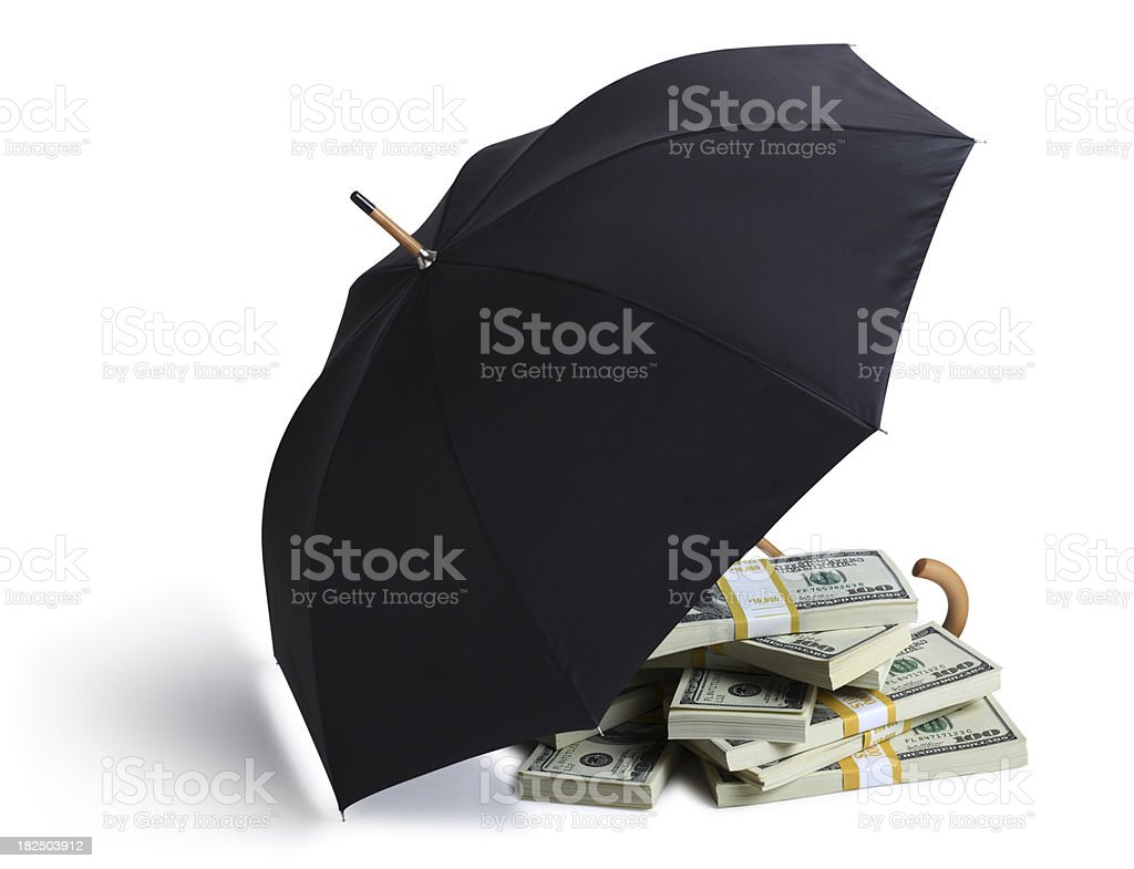 Money Sheltered by an Umbrella on White royalty-free stock photo