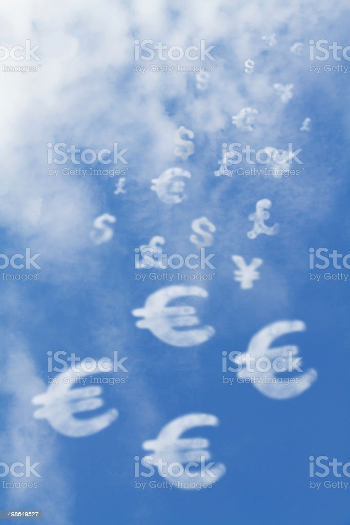 Money sign falls from the sky stock photo