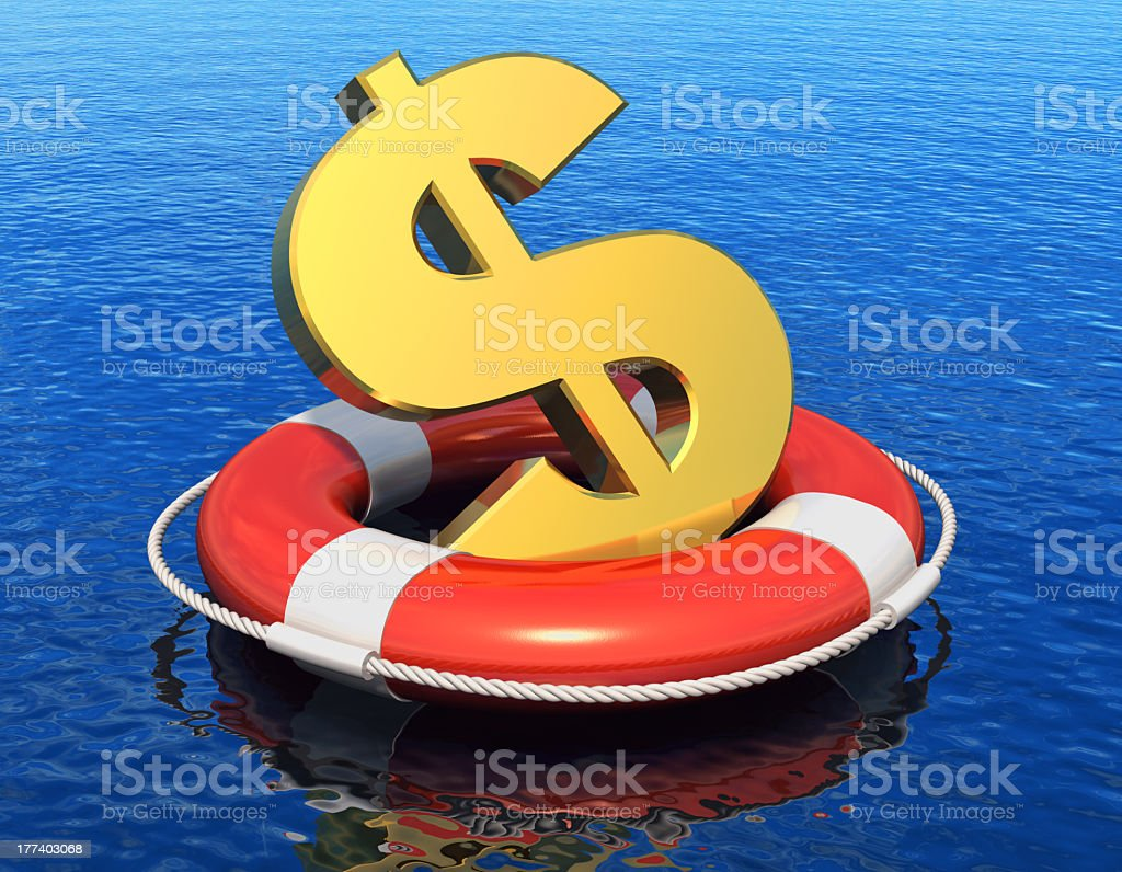 A money sign floating in a lifesaver representing a crisis royalty-free stock photo