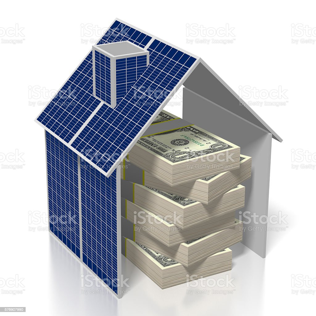 Money, solar panels concept stock photo