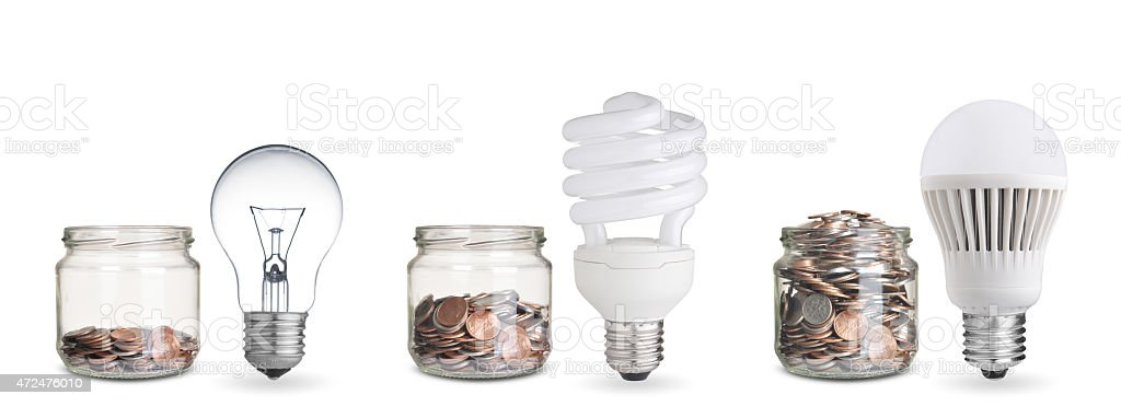 money spent with different light bulbs.Isolated on white stock photo