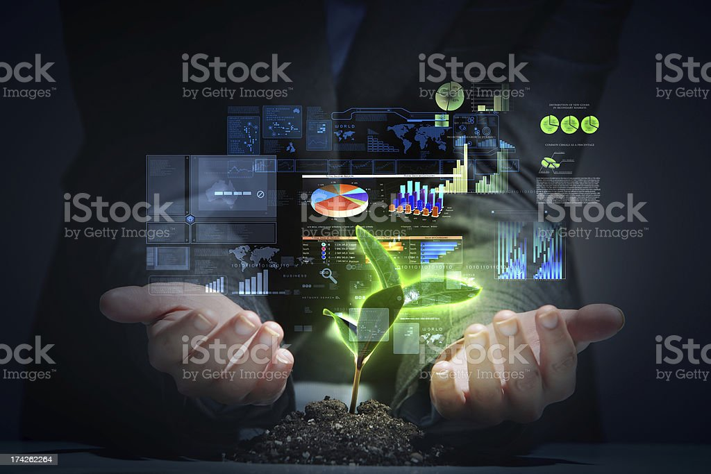 money sprouting stock photo