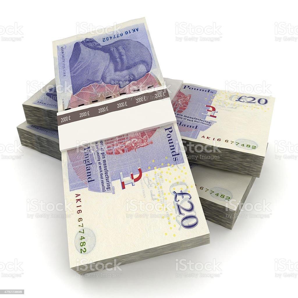 Money stack - British pounds stock photo