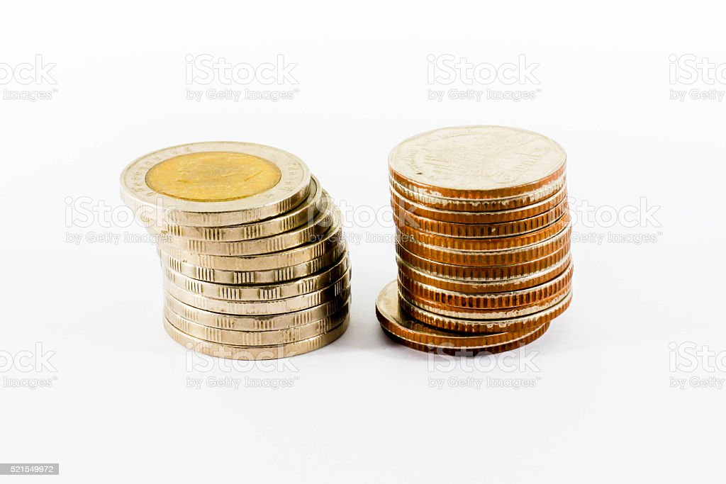 Money Stack coin on white background stock photo