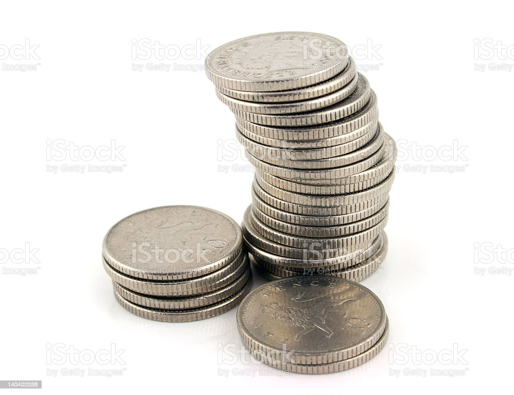 Money - Stack of 10 Pence Pieces stock photo