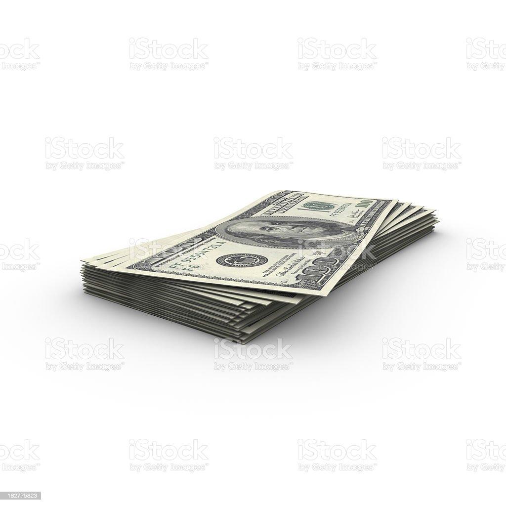 Money stack on white background royalty-free stock photo