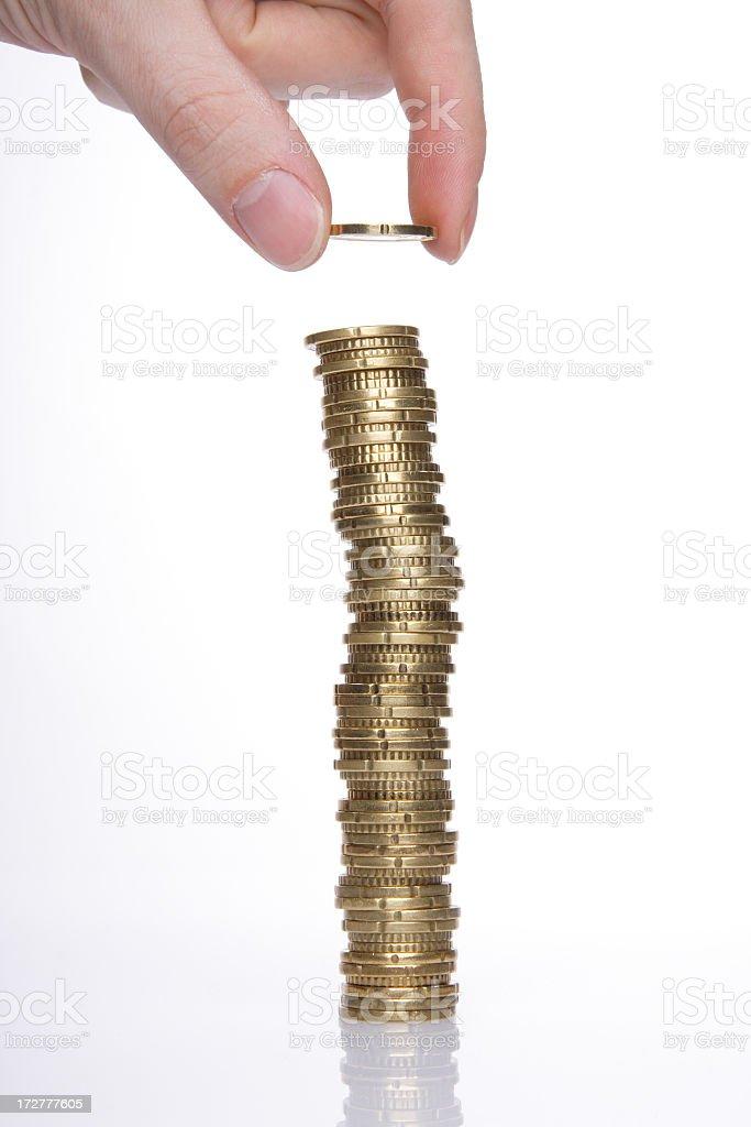 Money stacking stock photo