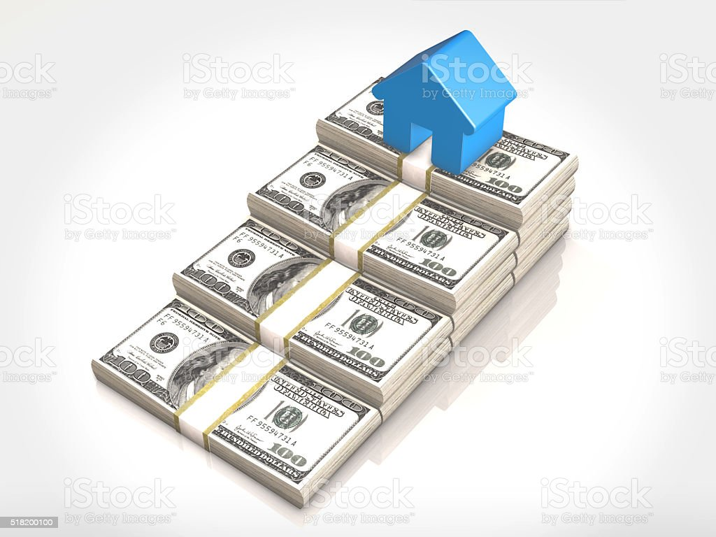 Money stacks and house symbol.3D rendering stock photo