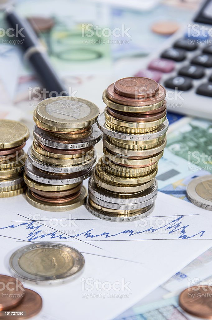 Money Stacks with Calculator royalty-free stock photo