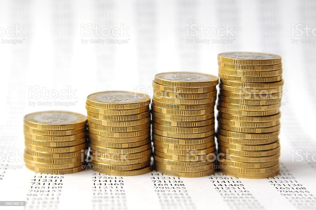 Money staircase isolated on background with numbers royalty-free stock photo