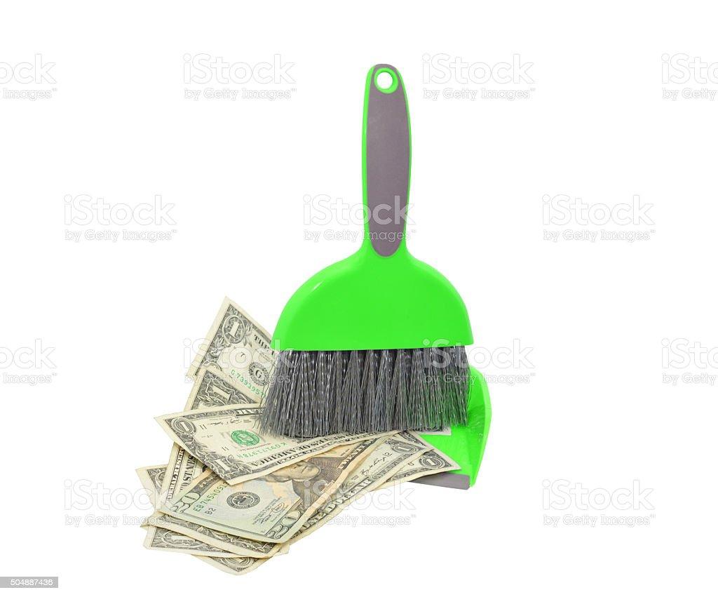 Money swept in Dust pan stock photo