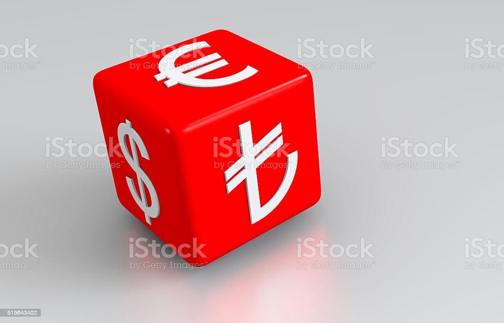 Money symbols on the three dimensional red dice. stock photo