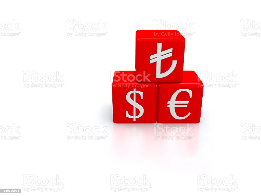 Money symbols on the three dimensional red dices. stock photo