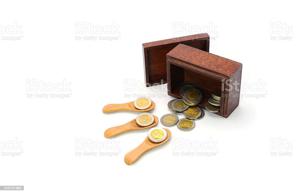 money, thai coins bath and wooden box on white background stock photo