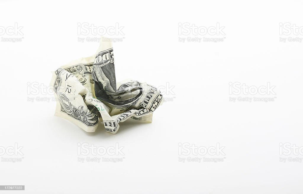 Money That Has Been Waded Up Into A Ball royalty-free stock photo