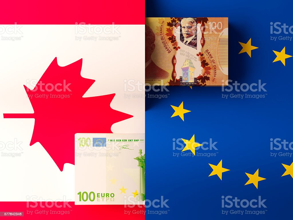 Money transfer between Canada and European Union stock photo