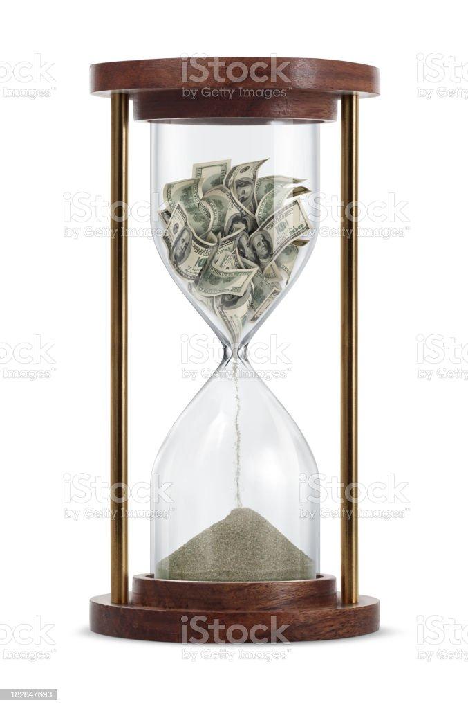 Money Transform in Hourglass stock photo