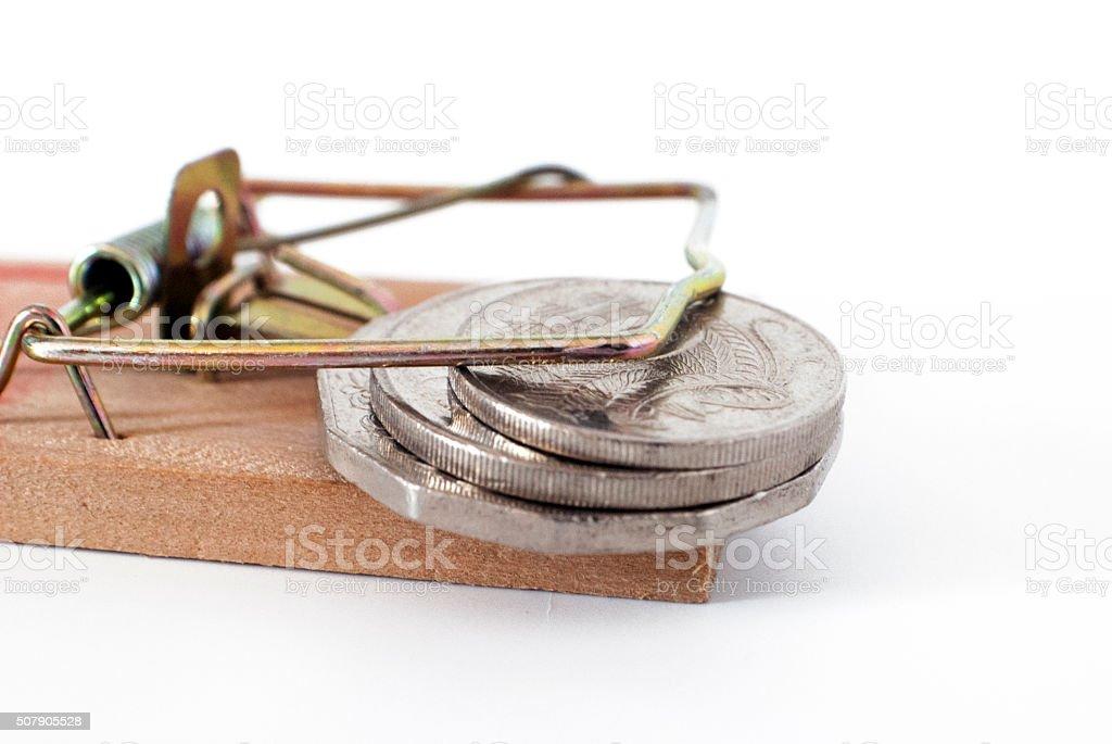 money trap mousetrap stock photo