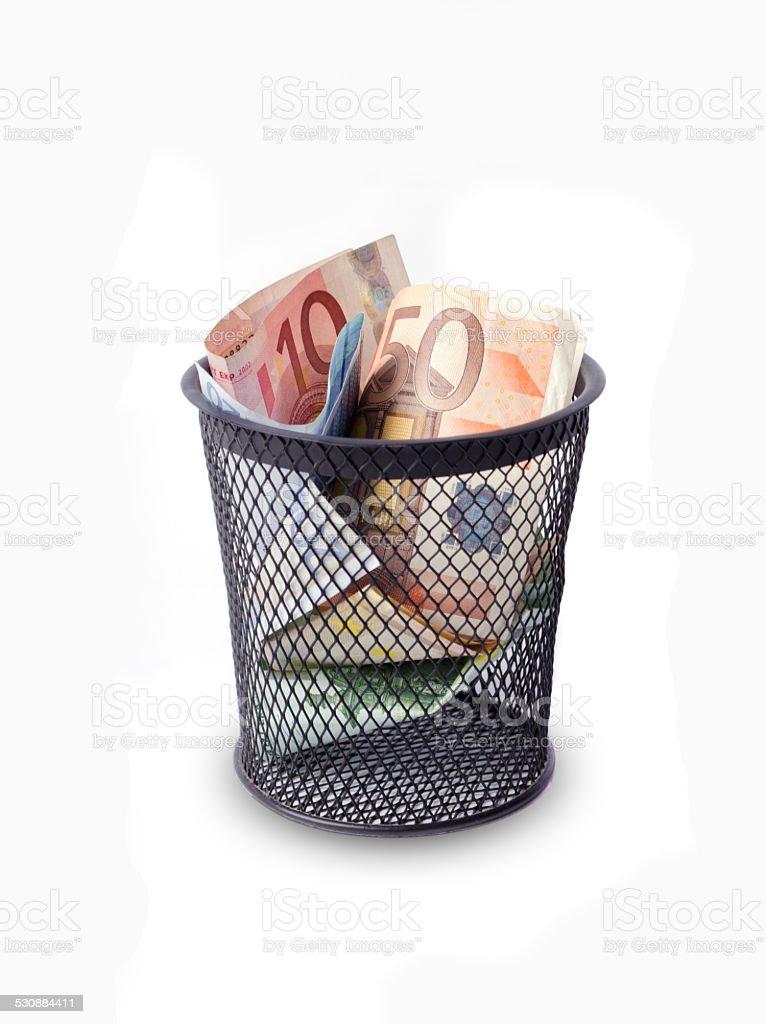 Money trash stock photo