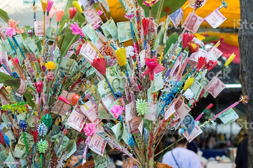 Money tree at a buddhist temple  Thailand stock photo