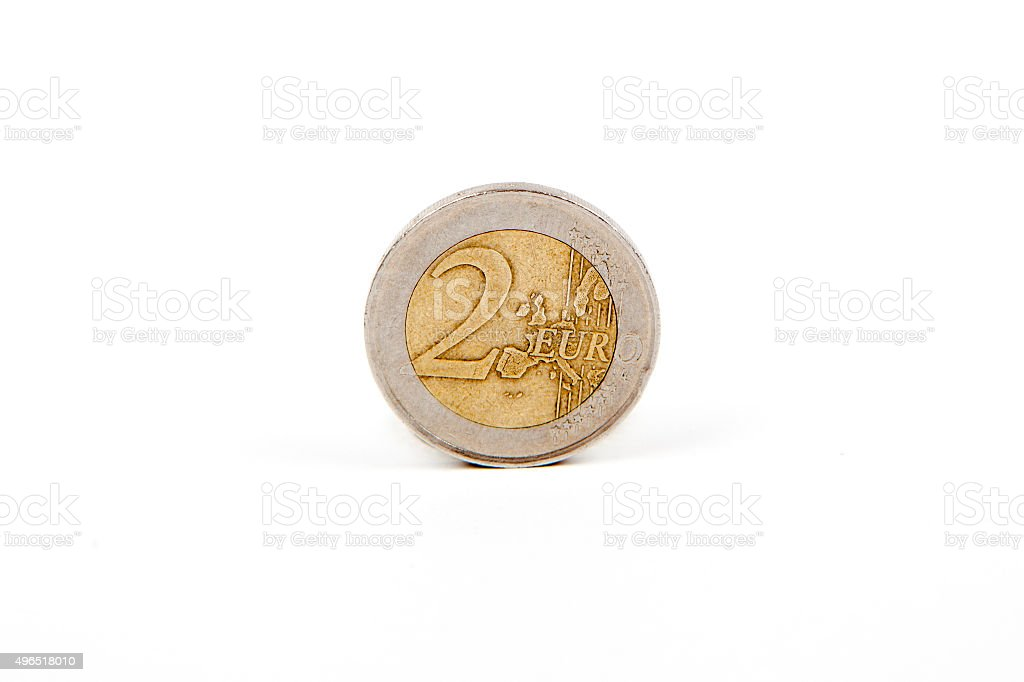 Money: two euro coin stock photo