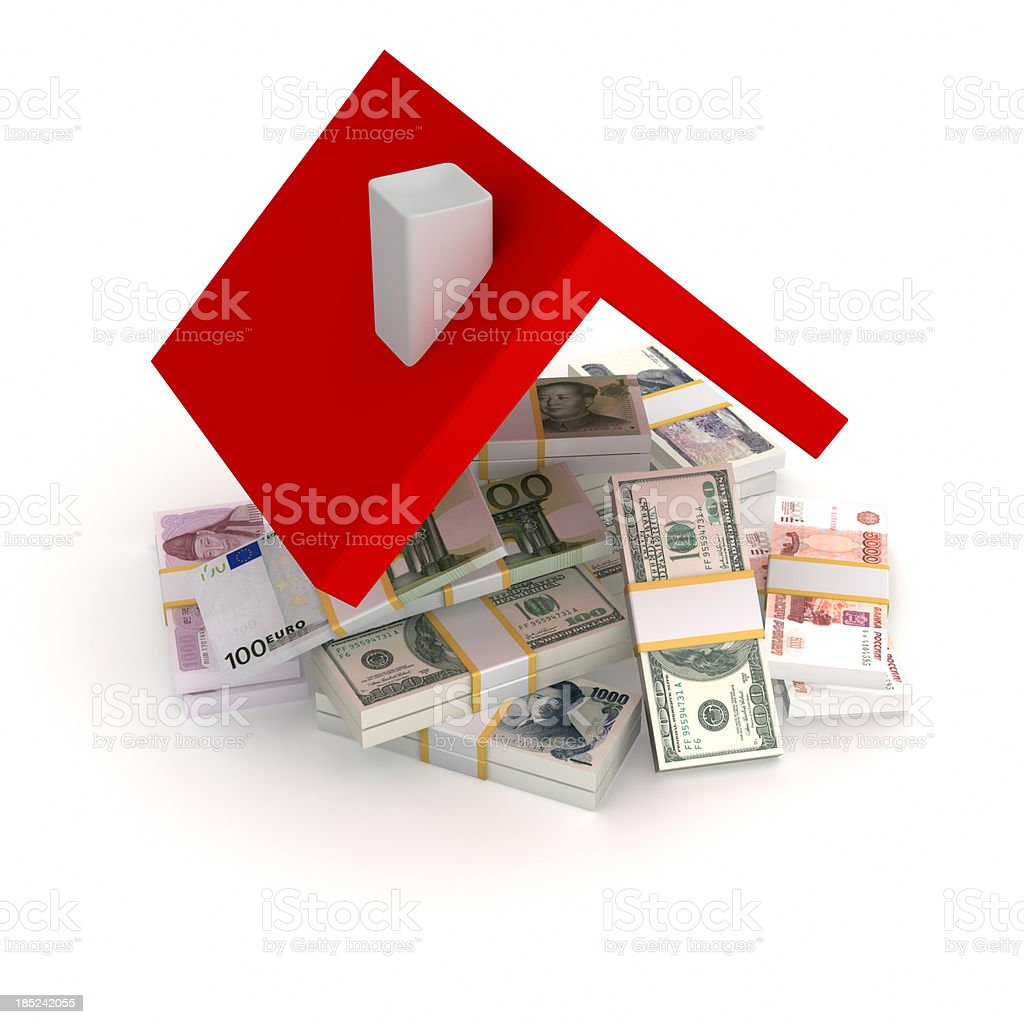 Money under a red house roof stock photo