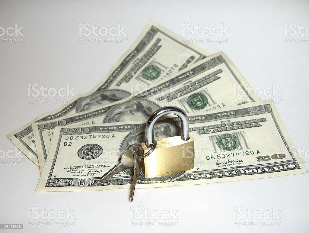 Money Under Lock & Key royalty-free stock photo