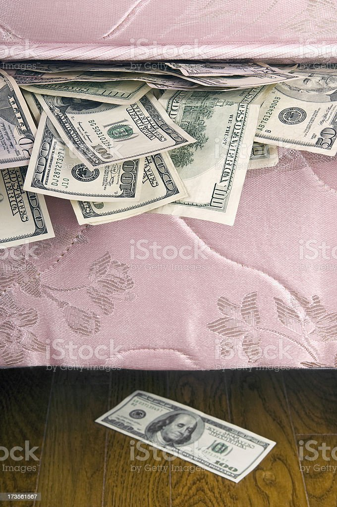 Money Under Mattress royalty-free stock photo