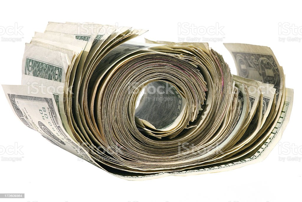 Money Unrolled stock photo
