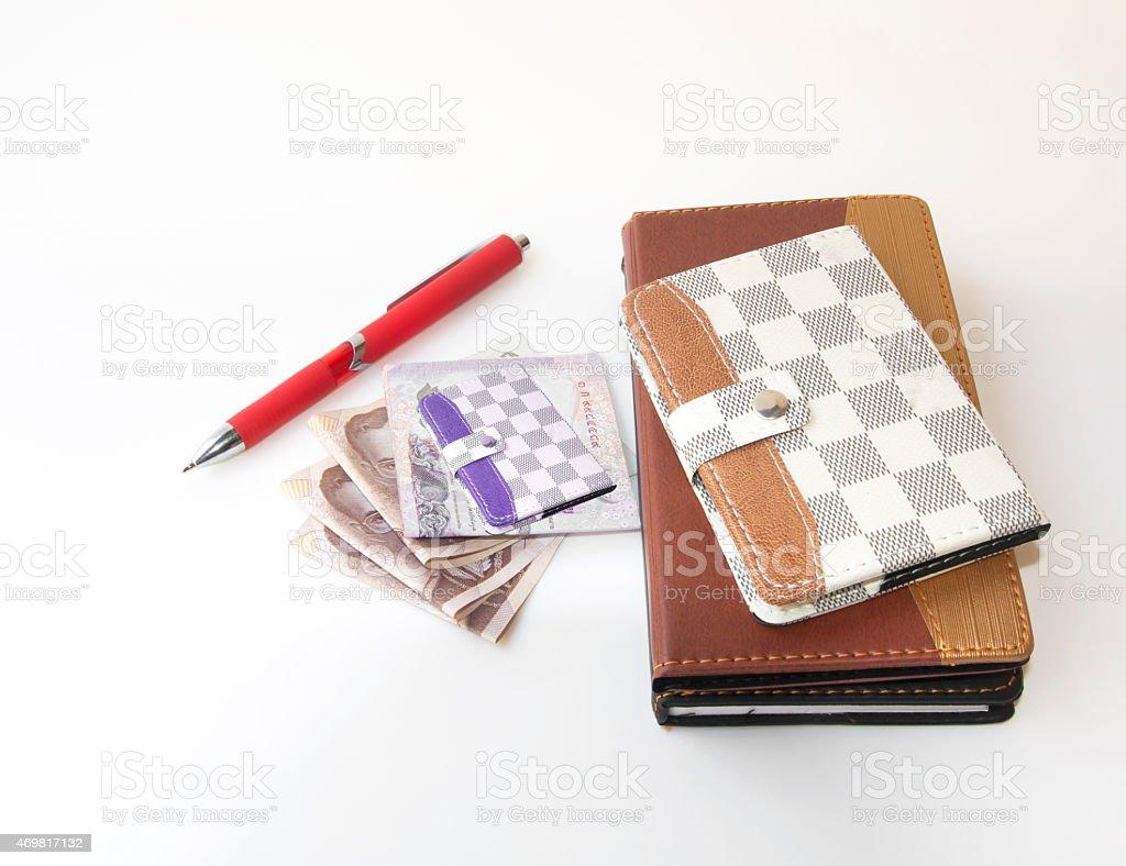 Money Wallets, Pen, Money stock photo