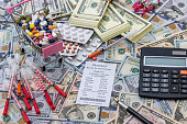 money with pills. medical concept