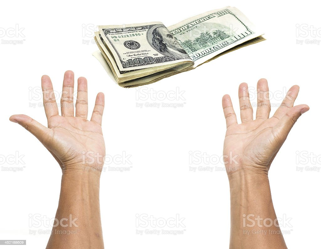 Money with two open hands isolated on white background stock photo