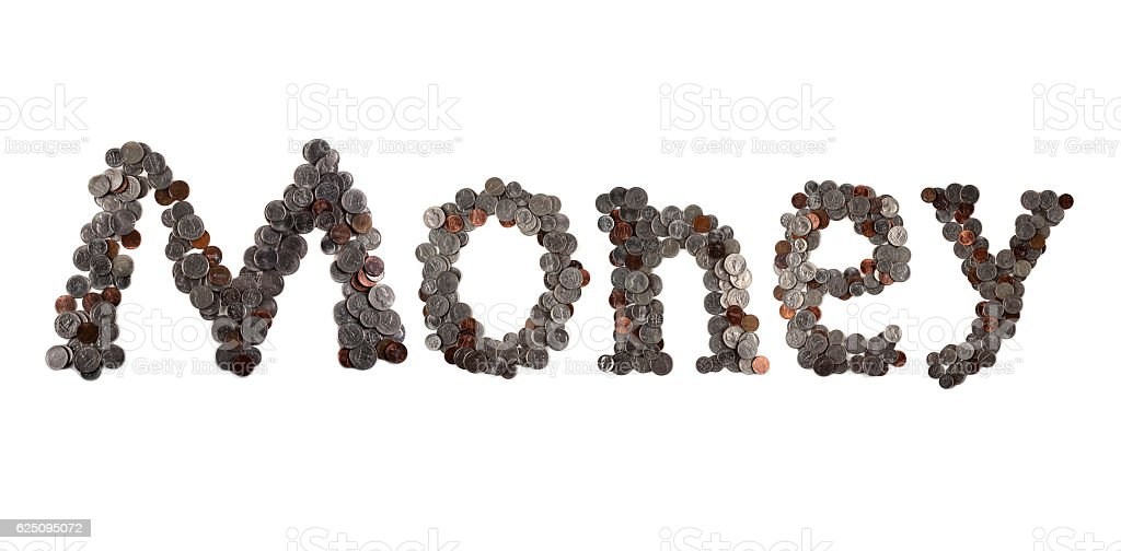 Money. Word made of coins. stock photo