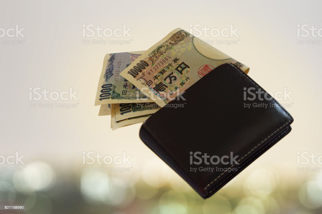 Money yen in wallet black with backgrounds stock photo