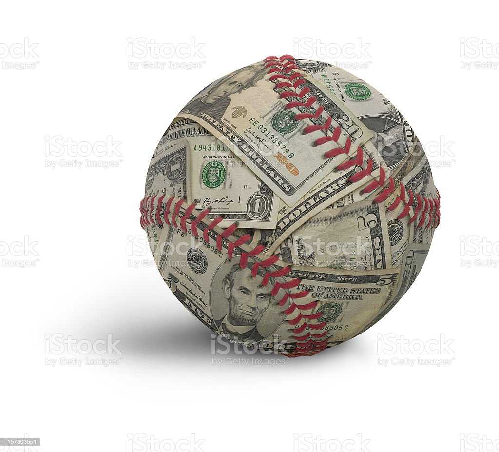 Moneyball, a baseball composited with U.S. money stock photo