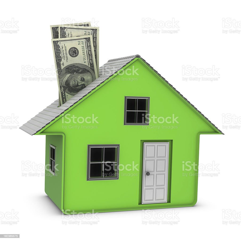 Moneybox - House and Currency royalty-free stock photo