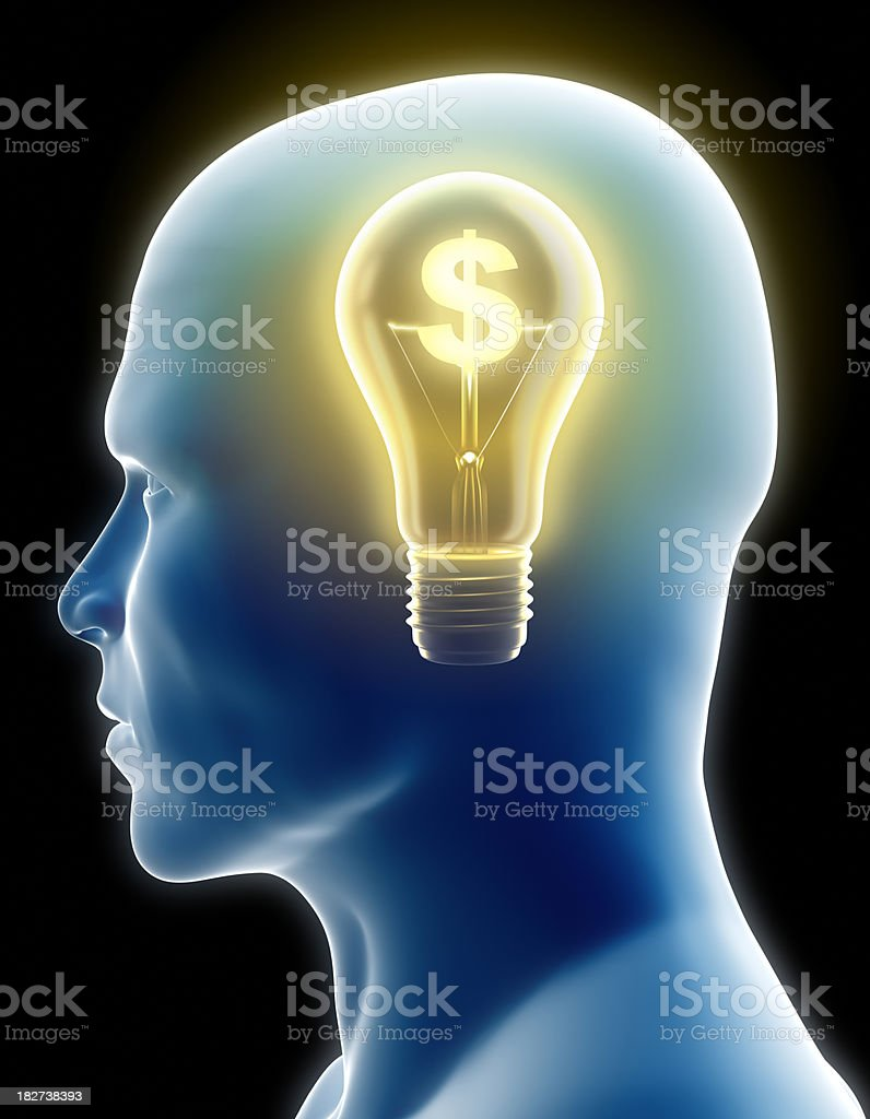Money-making idea - silhouette with lightbulb, clipping path included royalty-free stock photo