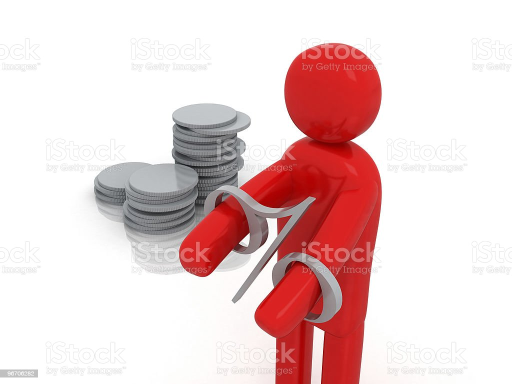 Moneyman in Debt | Money-man Series royalty-free stock photo