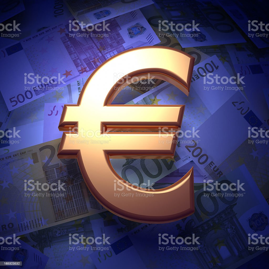 Moneys and Euro sign stock photo