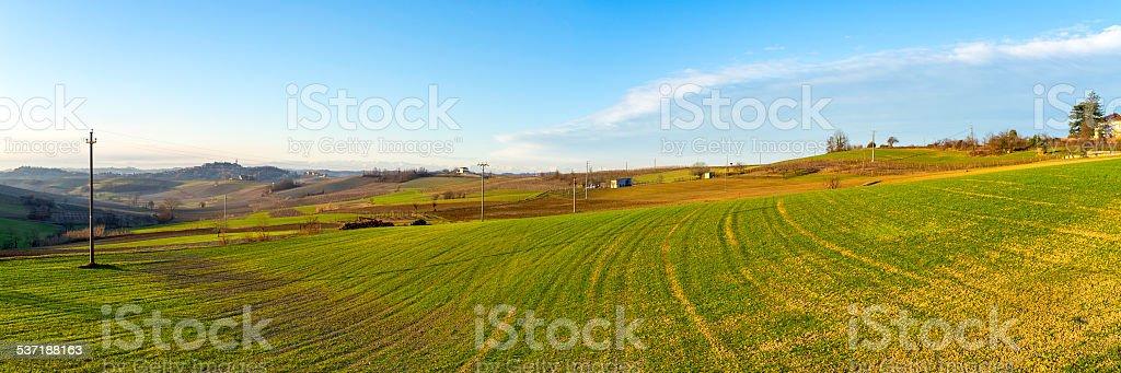 Monferrato, countryside winter sunrise panorama. Color image stock photo