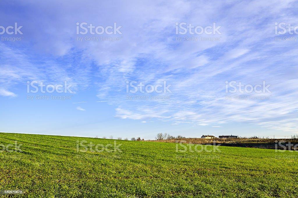 Monferrato hilly region, winter view. Color image stock photo