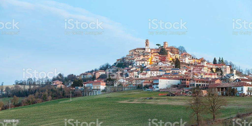 Monferrato typical village, winter sunrise. Color image stock photo