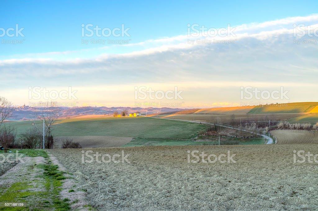 Monferrato, winter sunrise panorama. Color image stock photo