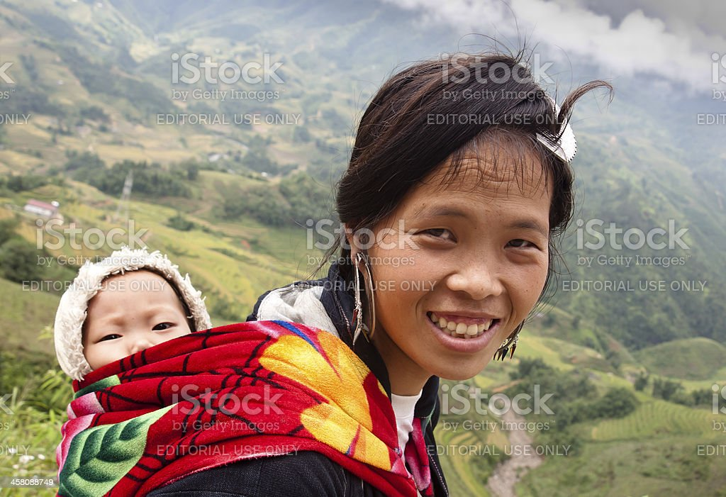 H'mong woman with small child stock photo